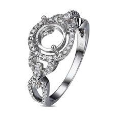 Natural Diamond Semi Mount Engagement Ring Round 6.5MM Set Solid 14K White Gold