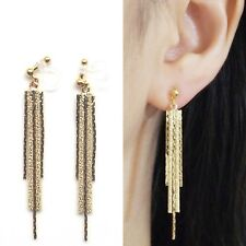 Dangle Bar Metallic Invisible Clip On Earrings Long Gold Threader Chain Clip-ons