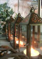 Tea Light Lantern Holder Candle Style Vintage Gold Brass Glass Copper Set of 3