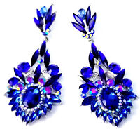 Blue Marquise Chandelier Earrings Rhinestone 3.5 in Pageant Drag Bridal Prom