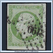 1853-60 Francia Napoléon III c. 5 verde n. 12 Usato France Napoleone