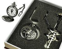 Charm Japan Cosplay Fullmetal Alchemist Pocket Watch Necklace Ring Set Pendant