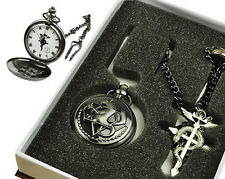 Charm Japan Cosplay Fullmetal Alchemist Pocket Watch Necklace Ring Set Pendant