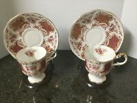 Vintage ROSINA Pedestal Tea Cup & Saucer Set of 2 cups 2 saucers 2 stands ENG