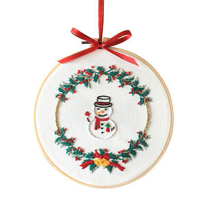 Christmas Embroidery Kit With Pattern Cloth Beginner DIY Needlepoint Kit Decor