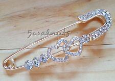 Large Heart Safety pin Brooch Gold Kilt Shawl Scarf Diamante Rhinestone Gem