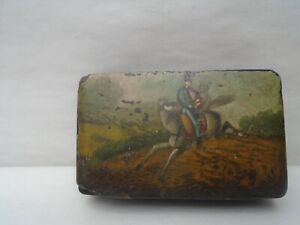 Fabulous Georgian papier mache snuff box with charming hand painted image  LOOK