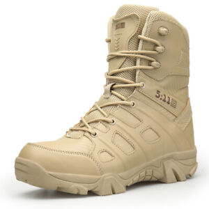 Military Tactical Boots Men Desert Combat Outdoor Side Zip Army Hiking Shoes
