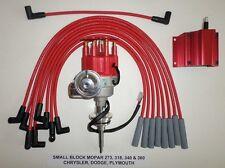 MOPAR 273-318-340-360 Red SMALL Cap HEI Distributor, 50K COIL & Spark Plug Wires