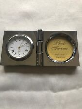 Silver-Toned Small Clock (Quartz) w/ Small Round Picture Frame
