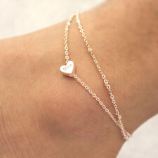 Women Heart Ankle Bracelet Double Layer Chain Fashion Foot Anklet Jewelry