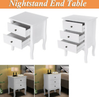 Nightstand End Table Bedroom Storage Hard Wood Side Bedside W/ 2 or 3 Drawers US