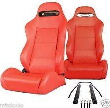 2 RED LEATHER RACING SEATS RECLINABLE + SLIDERS VOLKSWAGEN NEW **