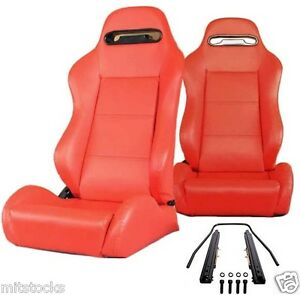 2 RED LEATHER RACING SEATS RECLINABLE + SLIDERS VOLKSWAGEN NEW **