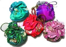 10PCS CHINESE GORGEOUS MIX SILK FLOWER BALL COIN BAG PURSE POUCH GIFT