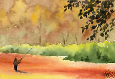 """Fly Fishing Art Print """"Fall Fishing"""" Signed by Watercolor Artist DJ Rogers"""