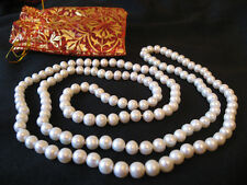 """AAA 47"""" 120cm Long Cultured White Freshwater Pearl Necklace RRP £100 Plus Gift"""