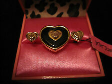 BETSEY JOHNSON 60's MOD RETRO BLACK AND GOLD HEART DOUBLE RING SIZE 7
