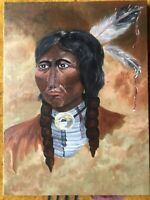 Vintage Oil Painting Native American CHIEF LONG-HORN Portrait Signed Indian