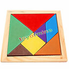 Color Wooden Tangram 7 Piece Wood Puzzle Brain Teaser Jigsaw Intelligent Kid Toy