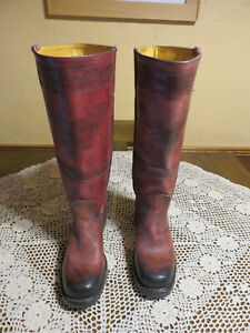 Women's FRYE 2-Tone Russet Leather RIDING BOOTS Campus Stitching Size 8M *NICE*