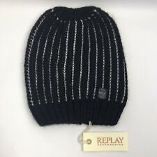 REPLAY Womens Girls Black/Silver Striped Beanie Winter Knit Cosy New RRP £30