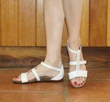 Clarks Sandal 5 38 Leather White Cream Beaded Strap Flat Gladiator Artisan Shoes