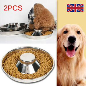 2X Puppy Pet Cat Litter Food Feeding Weaning Silver Stainless Feeder Bowl Dish