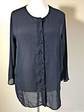 MAGGIE LAWRENCE Plus Size 18/20 Black Sheer Long Sleeve Button Blouse Shirt