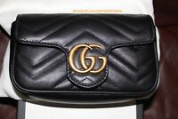 NEW SOLD OUT GUCCI MARMONT MATELASSE SUPER MINI CHAIN BAG CLUTCH BLACK LEATHER