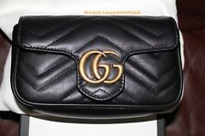 NEW SOLD OUT GUCCI MARMOT MATELASSE MINI CHAIN BAG CLUTCH WOC BLACK LEATHER GHW