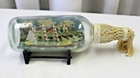 Vintage Folk Art Ship-in-a- Bottle / McKee Montreal Town Diorama / Signed