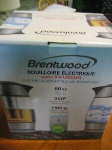 ⭐ Brentwood KT-1960BK 60 oz 1.8L Glass Tea Kettle Infuser Tea Pot NIB !!!