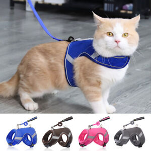 Reflective Mesh Dog Harness Cat Vest and Leash Set Breathable Padded Adjustable