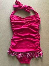 Juicy Couture Red Shirred Halter Ruffle Swimdress Embroidered One piece, size S