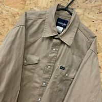Vintage Wrangler Authentic Beige Denim Long Sleeve Popper Shirt   Men's Large L