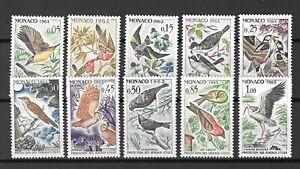Monaco 1962 Wildlife Fauna Birds Vögel Oiseaux compl. set MNH