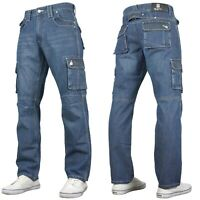 McCarthy Mens Regular Fit Midwash Cargo Multi-Pocket Cinch Back Jeans Work Wear