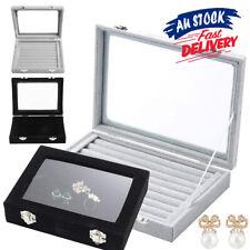 Storage Case Tray Holder Jewelry Display Earring Velvet Ring Organizer Box Glass