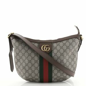 Gucci Ophidia Half Moon Hobo GG Coated Canvas Small