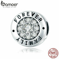 Bamoer New s925 Sterling Silver AAA CZ charm Forever Family Fit Bracelet Jewelry
