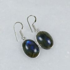 Gemstone Silver Plated Bezel Earrings Auction Sale ! Natural Blue Labradorite