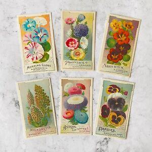 Vintage Flower Seed Packet Ephemera Card Toppers, Botanical Gift Tags Craft