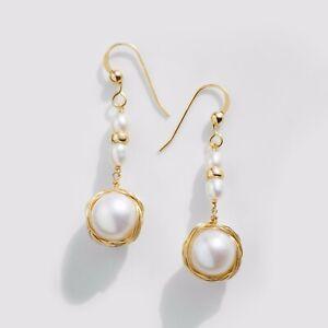 """Handmade!Luster 10mm+ White Pearl Dangle Earrings 14K Yellow Gold Filled,1.6"""""""