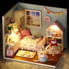 Dollhouse Miniature DIY Wood Kit Dolls House Cover Light Cute Room Sunshine Hot
