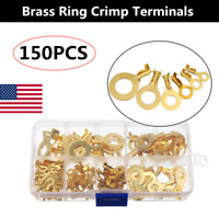 150Pcs Insulated Brass Ring Crimp Terminals Wire Connectors Spade Electrical Kit