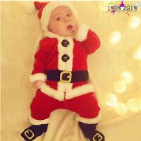 4PCS Infant Baby Santa Christmas Festive Tops+Pants+Hat+Socks Outfit Set Costume