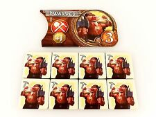 Small World Replacement / Expansion Dwarves Race Token & Banner Set 9pc
