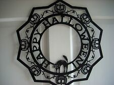 "HAPPY HALLOWEEN WREATH WALL HANGING BLACK METAL PUMPKINS, CAT, SPIDERS 16"" NICE!"