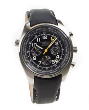 Aviator Chronograph Black Leather Men's Pilot Multi Time Watch AVW5839G2
